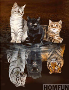 "5D DIY Diamond Embroidery Painting Full Square/Round Drill ""Cats""-Scrap n Patch"