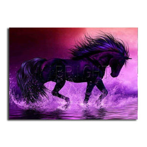 "5D DIY Diamond embroidery Painting Kits -Full Square / Round ""Purple horse"" - Scrap n Patch"