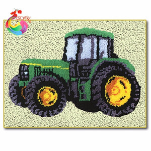 "Latch hook DIY rug kit ""John Deer tractor"" approx 50x35cm"