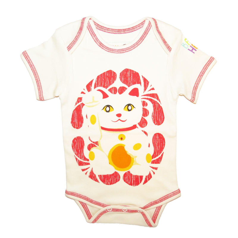 Lucky Cat Onesie - Short Sleeve Red