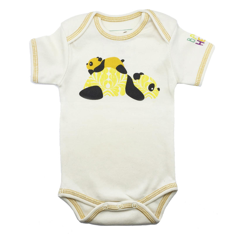 Panda Onesie - Short Sleeve Yellow