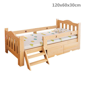 Solid Wood Children's Bed With Fencer Single Children's Durable Pine Wood