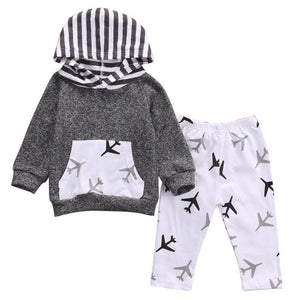 2Pcs Toddler/Infant Unisex Set (Hooded Jumper + Long Pants)