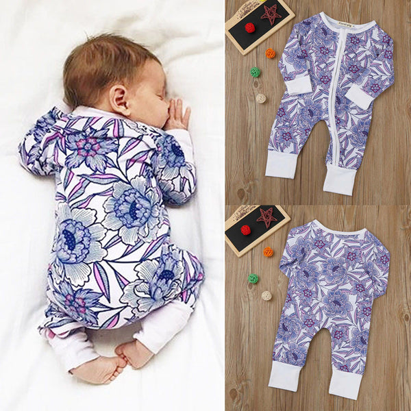 Newborn Baby Boys Girls Flower Print Romper Jumpsuits Outfits Clothes Floral Print Long Sleeve Romper Jumpsuits For Baby Onesize