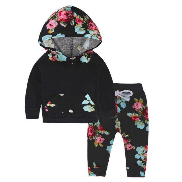 Baby Boys Girls Clothes Set Children Outfits Newborn Tops Hoodie Top + Pant Leggings Cute Flora Kids Baby Clothes Bebek Clothing