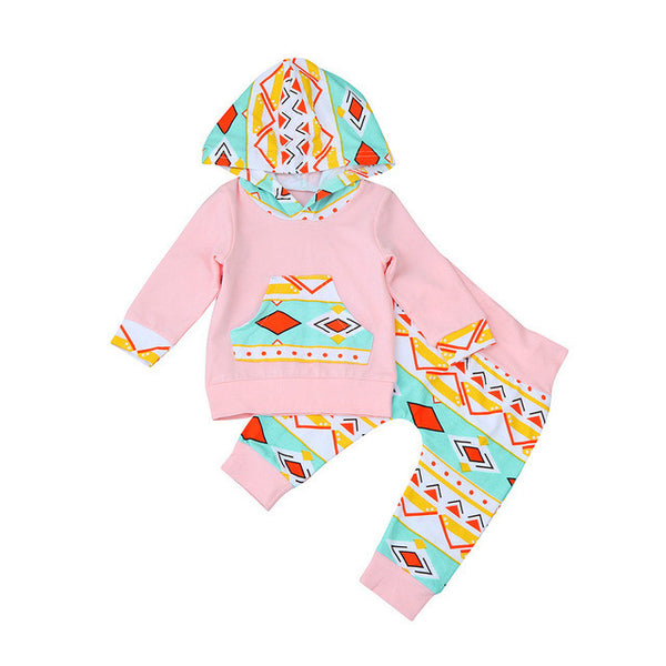 2Pc Baby Girl Casual Set (Hoodie + Long Pants)
