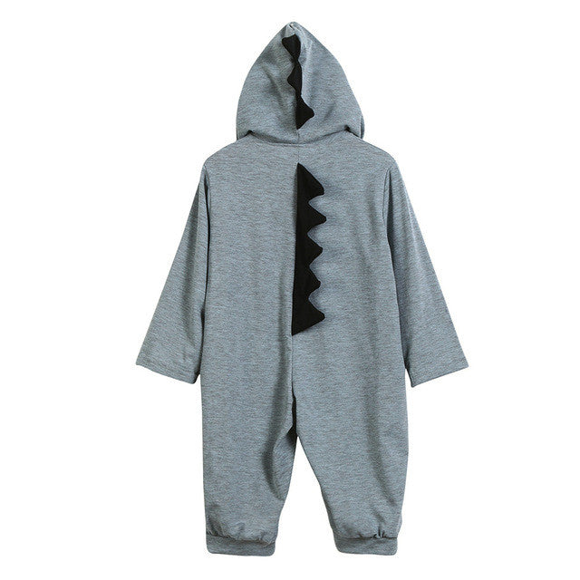 Long Sleeve Dinosaur Hooded Unisex Romper