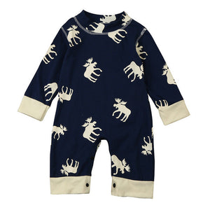 """Moose"" Newborn Unisex Long Sleeve Romper"