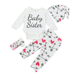 """Baby Sister"" 4Pcs Heart Set (Romper + Pants + Hat + Headband)"