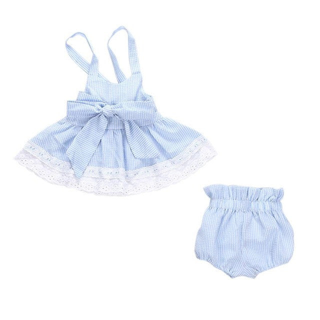 3Pcs Newborn Girls Bowknot Set (T Shirt + Shorts + Headband)
