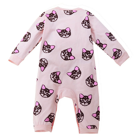 Girls Long Sleeve Cotton Kitten Print Jumpsuit