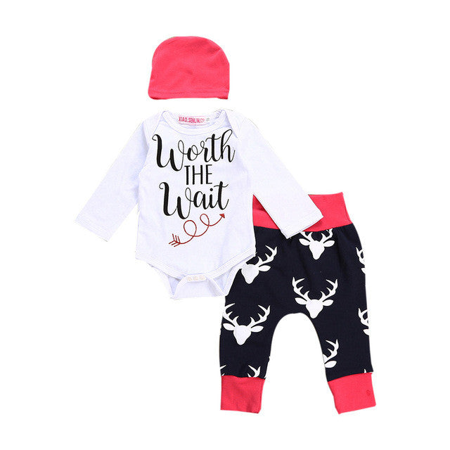 3PCS Infant Baby boy girls Clothes setFirst Christmas Letter Romper Tops Deer Pants Hat Kids Outfits Set