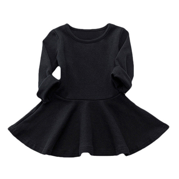 Spring Autumn Candy Color Cotton Baby Girl Dresses Long Sleeve Solid Princess Dress Bow-knot O-neck Casual Kids Pleated Dresses