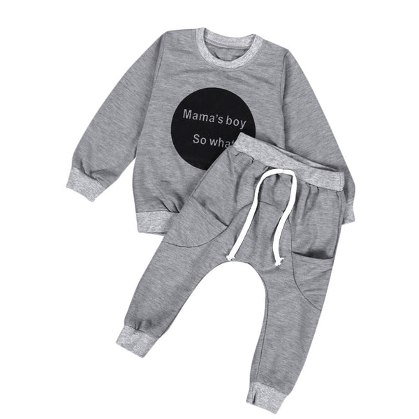 """Mama's Boy"" 2Pcs Toddler Unisex Set (Long Sleeve T-Shirt + Pants)"