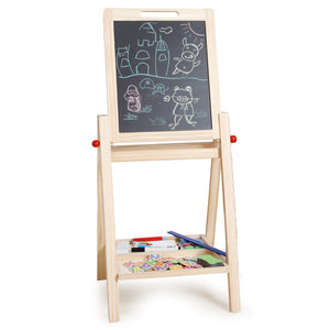 Double Sides Drawing Board Standing Toy Easel Chalkboard Blackboard,Adjustable Height,with Magnetic Puzzles