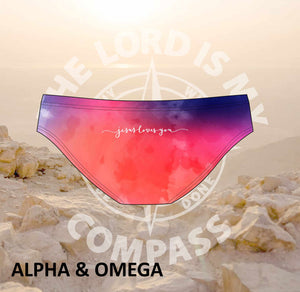 Alpha And Omega Jesus Loves You Watercolor Bikini Bottom