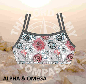 Alpha And Omega Succulent Floral  Bikini Top