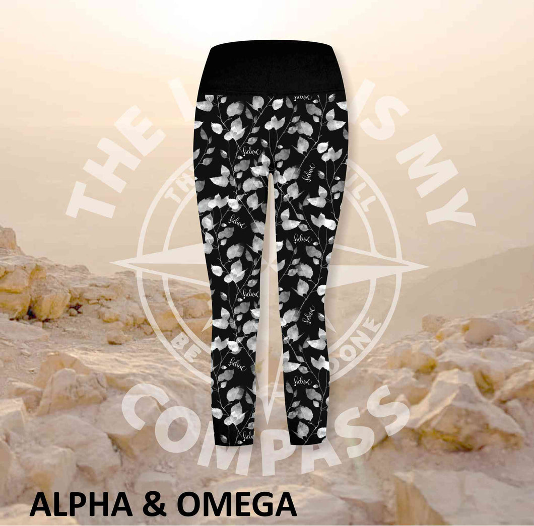 Alpha And Omega Believe Trailing Leaf Print Three Quarter Athleisure Tights