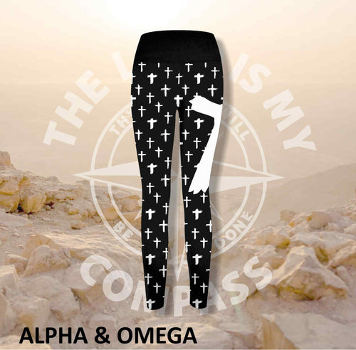 Alpha And Omega Christian Cross Print Athleisure Tights