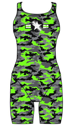 Female kneeskin swimsuit - Neon Camouflage - DG apparel competitive swimwear lifesaving waterpolo south african flag swimwear triathlon running