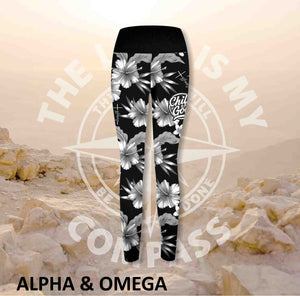 Alpha And Omega Child of God Hibiscus Print Athleisure Tights