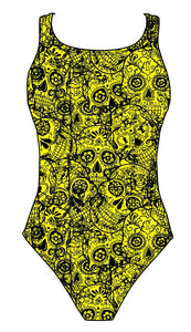 Female fastback swimsuit - Neon Mexican Skulls - DG apparel competitive swimwear lifesaving waterpolo south african flag swimwear triathlon running