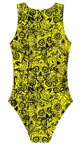 Female Water polo swimsuit- Neon Mexican Skulls - DG apparel competitive swimwear lifesaving waterpolo south african flag swimwear triathlon running