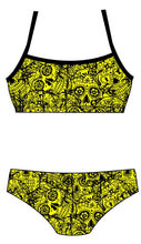 Female 2 Piece Training Bikini - Neon Mexican Skulls - DG apparel competitive swimwear lifesaving waterpolo south african flag swimwear triathlon running
