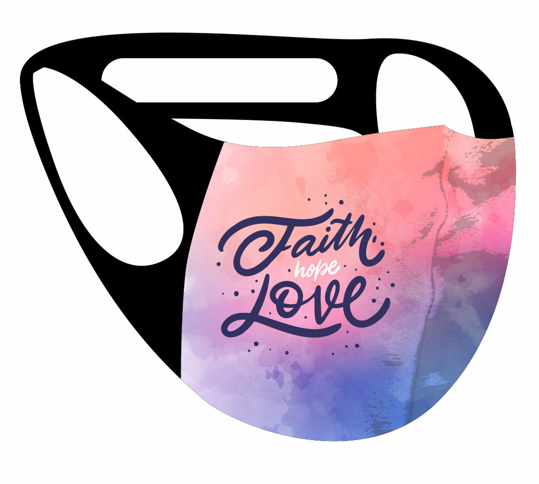 Ultimate Comfort Reusable Face Mask Faith hope love  Print