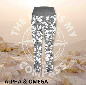 Alpha And Omega Faith Over Fear Print Three Quarter  Athleisure Tights