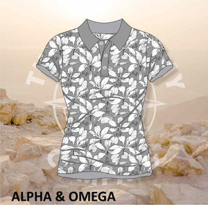 Alpha and Omega Faith Over Fear Grey Floral Ladies Golf Shirt