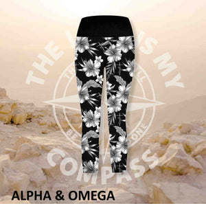 Alpha And Omega Child of God Grey Hibiscus Athleisure Three Quarter Tights