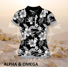 Alpha and Omega Child of God Grey Hibiscus Ladies Golf Shirt
