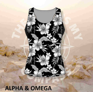 Alpha & Omega Child of God Grey Hibiscus Run Vest