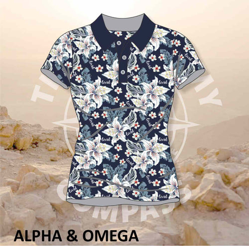 Alpha and Omega Believe Lilly Love Ladies Golf Shirt
