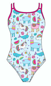 Female fastback swimsuit - Unicorns Llamas & Rainbows