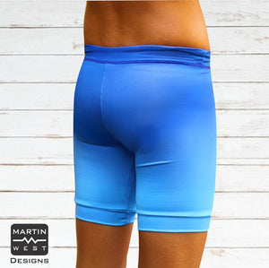 Male Indo Blue Ombre  run/paddle shorts