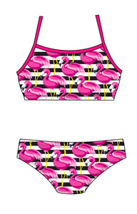 Female 2 piece training bikini -  Flamingo