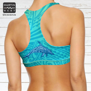 Female Tattoo Dolphin  Paddle/swim reversible Crop Top