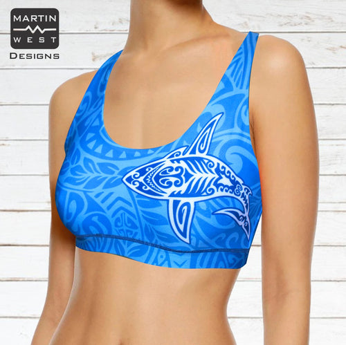 Female Tattoo Shark Paddle/swim reversible Crop Top