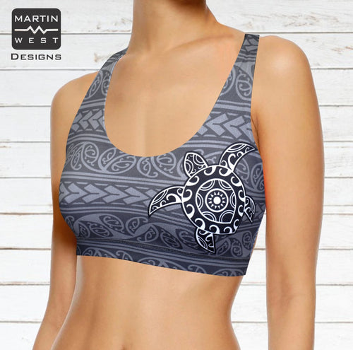 Female Tattoo Turtle  run/paddle/swim reversible Crop Top