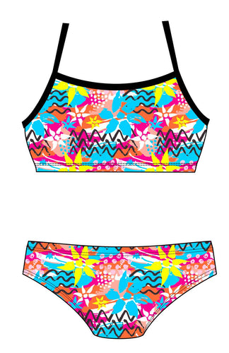 Female 2 Piece Training Bikini - Neon Floral