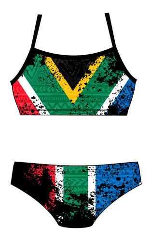 Female 2 Piece Training Bikini - South African Flag