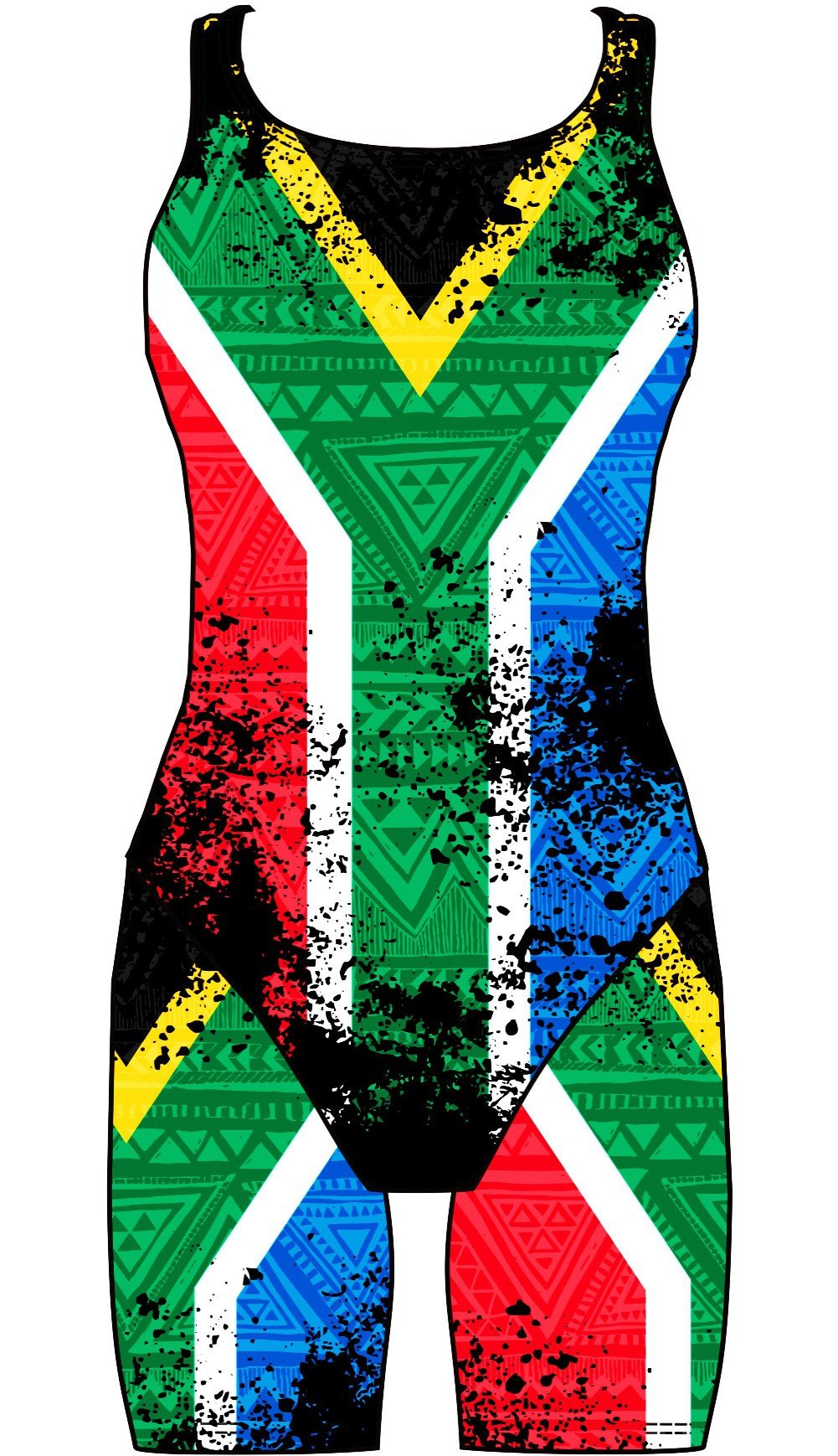 Female kneeskin swimsuit - South African Flag - DG apparel competitive swimwear lifesaving waterpolo south african flag swimwear triathlon running