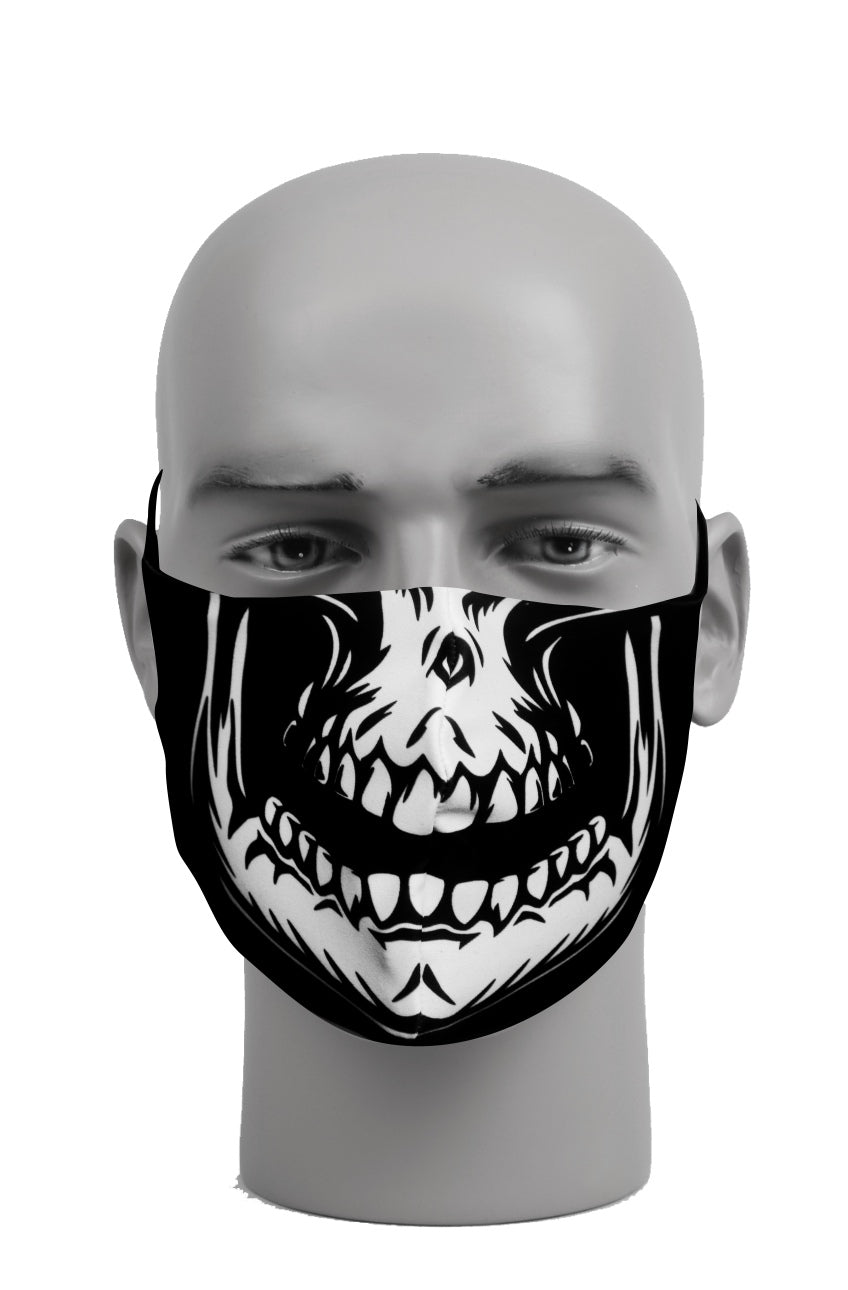 Ultimate Comfort Reusable Face Mask White Skull