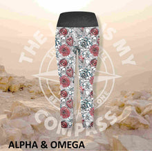 Alpha And Omega Succulent Floral Athleisure Three Quarter Tights