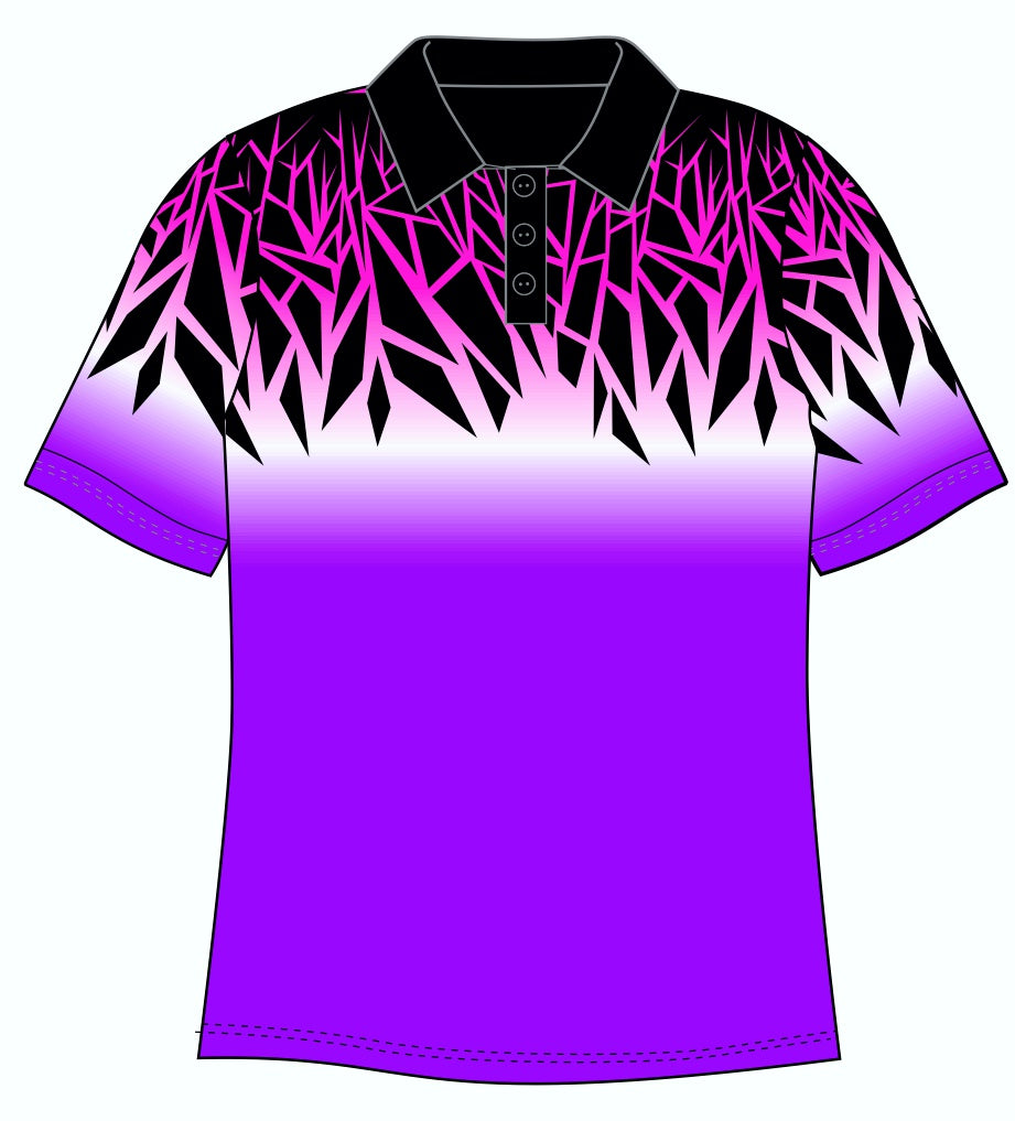 Male Funky Purple Chards Custom Printed Golf Shirt