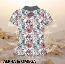 Alpha and Omega Succulent Floral Ladies Golf Shirt
