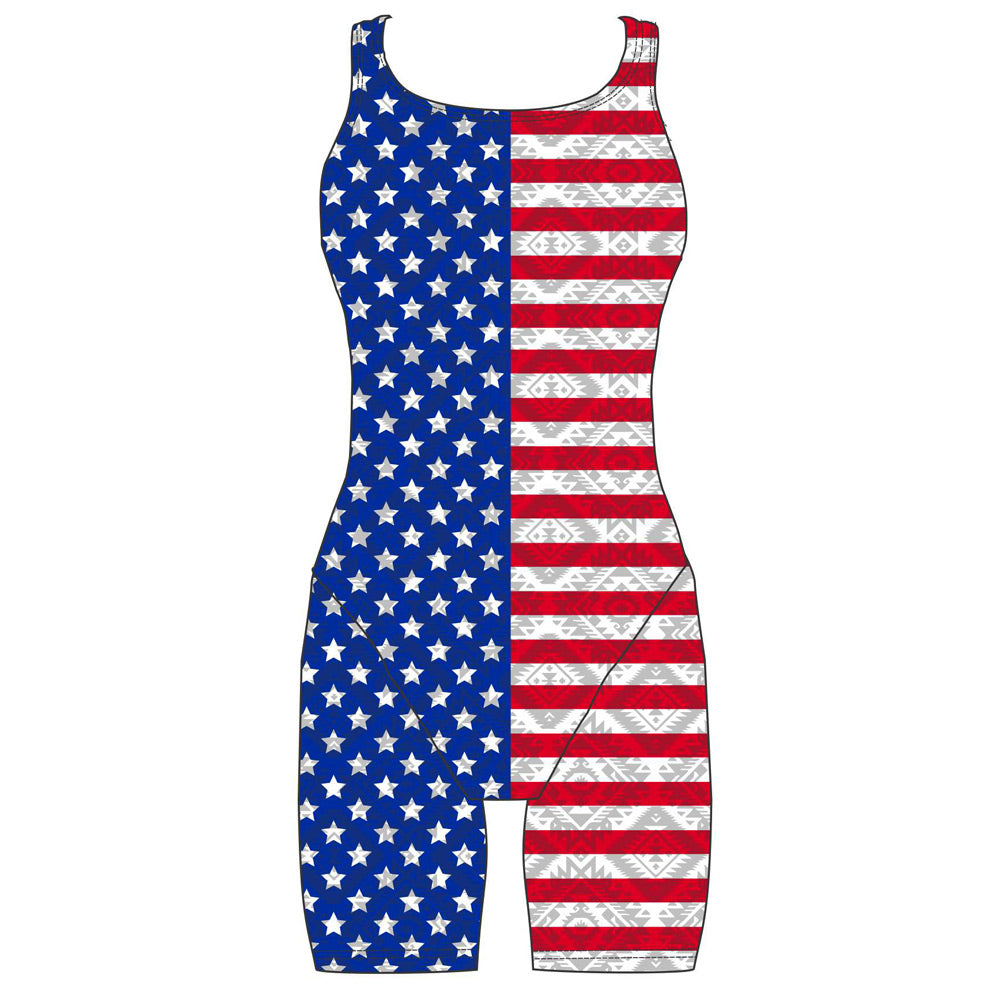 Female kneeskin swimsuit - American Flag