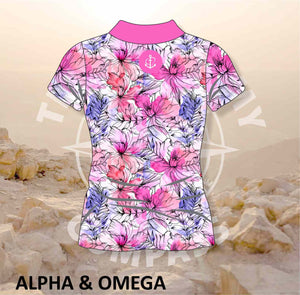 Alpha and Omega Watercolor Floral Ladies Golf Shirt